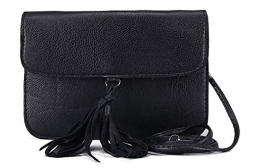 549acf28fd6 Fashion Small Ladies Clutch Vegan Leather Bag with Tassels Purse Handbag  Adjustable Strap Boho Shoulder