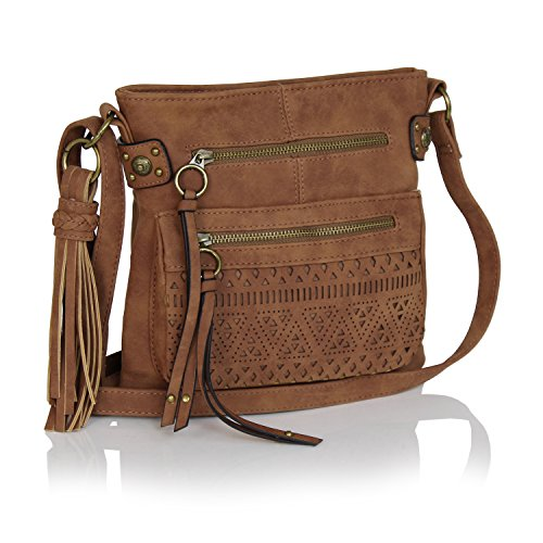 a4c5cf1ab75 Bohemian Laser Cut Design Faux Suede Perforated Crossbody Bag with ...