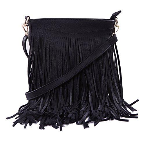 090a228be HDE Women's Leather Hobo Long Fringe Crossbody Tassel Purse Small ...