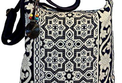 a788881143 Boho Hippie Glittering White Geometric Flower Cross Body Shoulder Bag