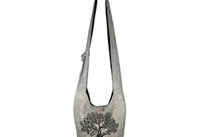 3bf1c13d463c Fair Trade Large Sling Crossbody Shoulder Bag Purse Hippie Hobo Gypsy  Bohemian (Grey Tree)