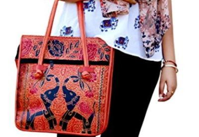 73b611ce40 Indian Handmade Leather Elephant design Ethnic Vintage Tribal Banjara  Copper Rose Shoulder Bag Purse