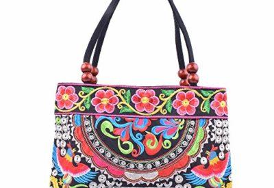 c66a56e4a6 Vintage Embroidery Boho Womens Handbag Mandala Flower Embroidered Totes  Travel Beach Bag