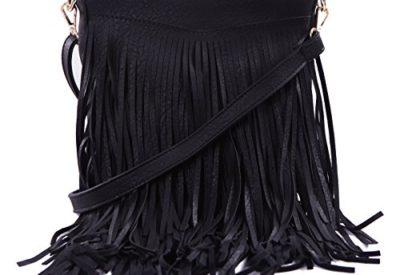 e1d34211ff HDE Women s Leather Hobo Long Fringe Crossbody Tassel Purse Small Handbag