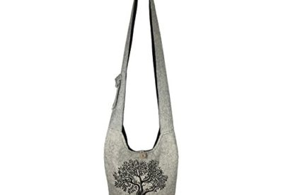 1e81f864b25b1f Fair Trade Large Sling Crossbody Shoulder Bag Purse Hippie Hobo Gypsy  Bohemian (Grey Tree)